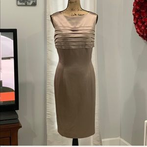 Kay Unger NY tan silk dress size 14